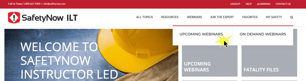 upcoming webinars screenshot