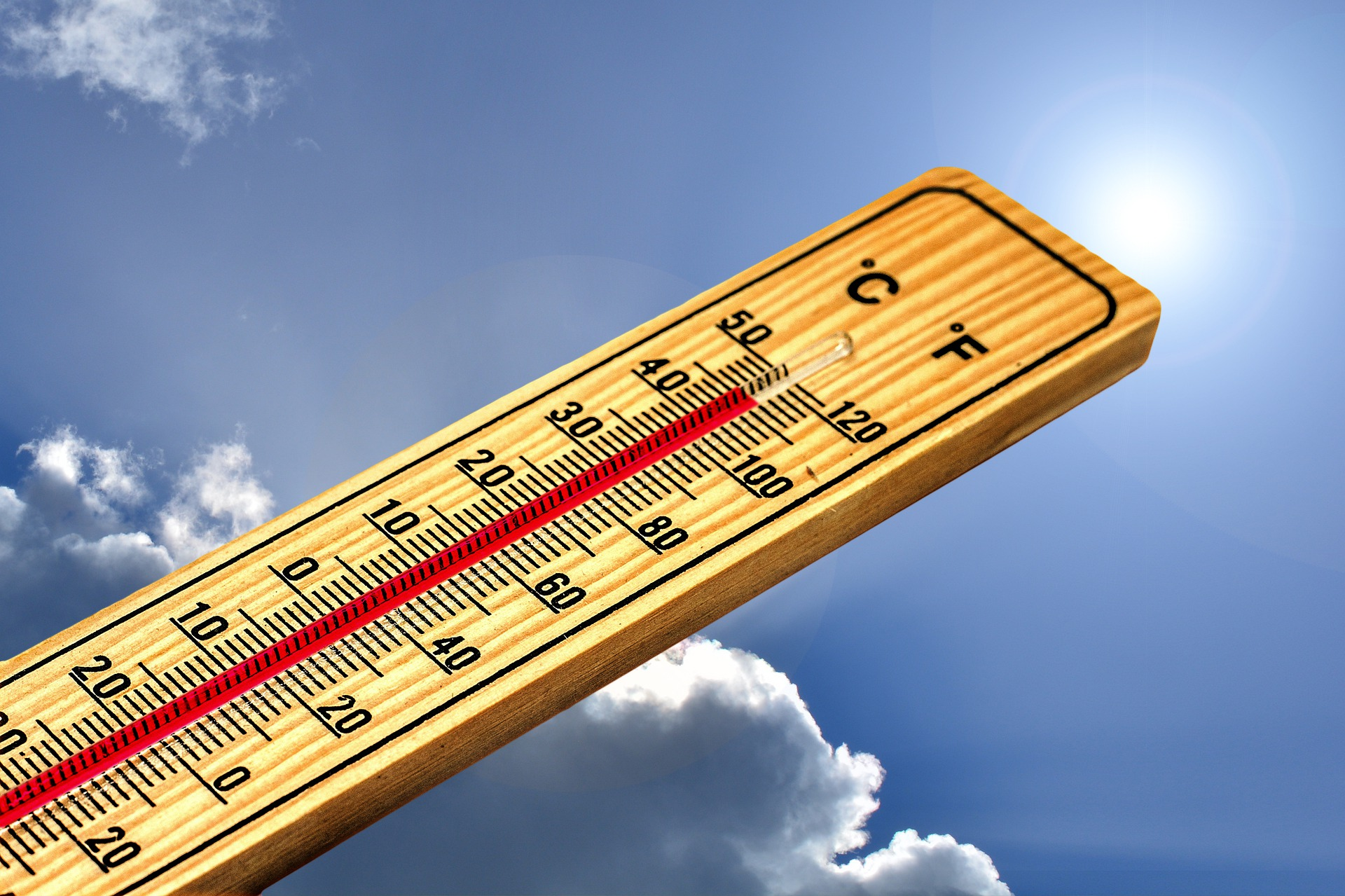 image of thermometer show hot temperatures